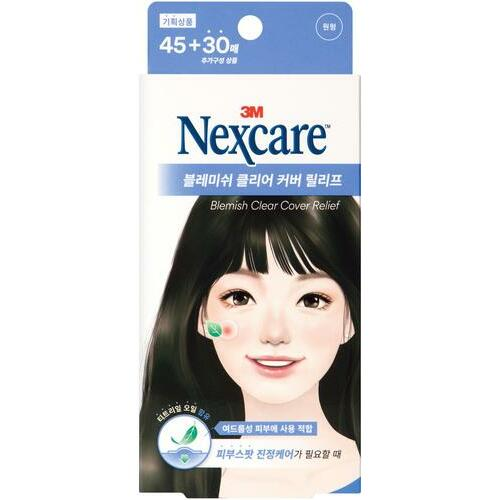 Nexcare Blemish Clear Cover Relief 45+30 Count (Round Shape)